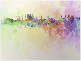 HD Poster Skyline von London in Aquarell-Hintergrund
