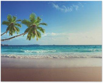 HD Poster Sonnenuntergang am Strand der Seychellen