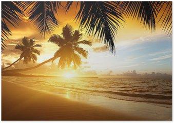 HD Poster Sonnenuntergang am Strand von caribbean sea