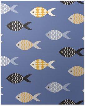 HD Poster Vector Schwarz-Weiß Fisch nahtlose Muster. Schule der Fische in Reihen auf blauem Ozean Muster. Sommer-Marine-Thema.