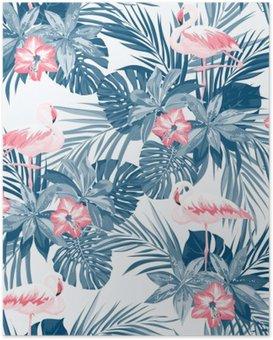 HD Poster Flamingo kuş ve egzotik çiçeklerle Indigo tropikal yaz sorunsuz desen
