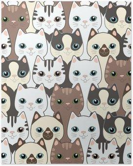 HD Poster Komik karikatür kedi. Seamless pattern