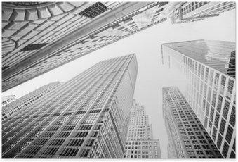HD Poster Manhattan, New York, ABD gökdelenler bakarak