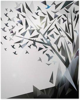 HD Poster Abstracte Boom met origami vogels.