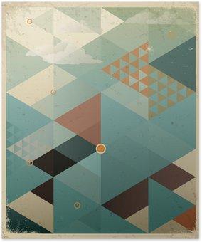 HD Poster Abstracte Retro Geometrische Achtergrond met wolken