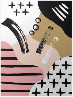 HD Poster Abstracte Scandinavische compositie in zwart, wit en pastel roze.