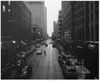 HD Poster Black and White Chicago Streets