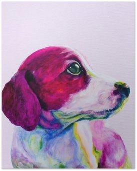 HD Poster Buddy Portret van een jonge hond, puppy in neon kleuren. Kijken en verlangen naar aandacht