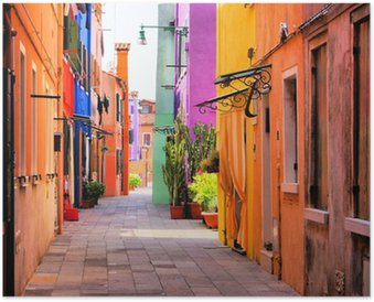 HD Poster Colorful gata i Burano, nära Venedig, Italien