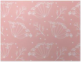HD Poster Dille of venkel bloemen en bladeren patroon.