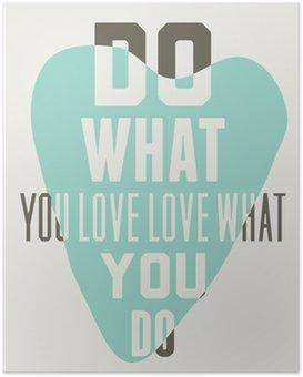 HD Poster Doe wat je liefde liefde wat je doet. Achtergrond van blauwe harten