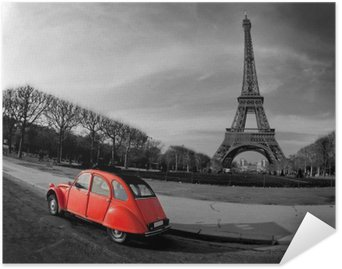 HD Poster Eiffeltornet och röd bil-Paris