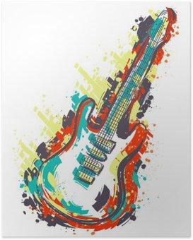 HD Poster Elektrische gitaar. Hand getrokken grunge stijl kunst. Retro banner, kaart, t-shirt, tas, print, poster.Vintage kleurrijke hand getrokken vector illustratie