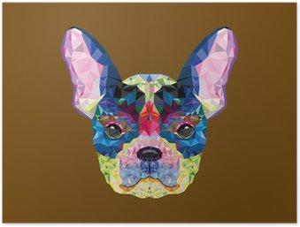 HD Poster Franse bulldog hoofd in geometrisch patroon