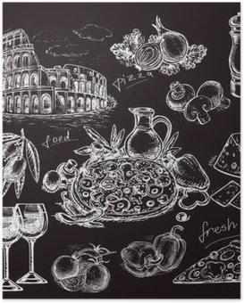 HD Poster Hand getekende schets illustratie pizza op zwarte raad