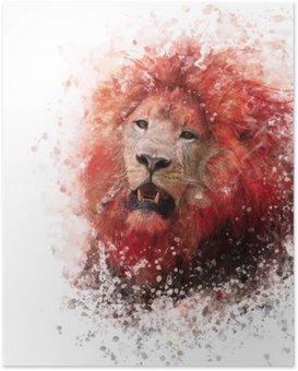 HD Poster Hoofd van de leeuw aquarel