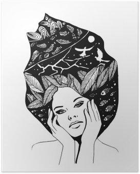 HD Poster __illustration, grafisch zwart-wit portret van vrouw