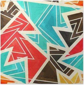 HD Poster Jeugd geometrische naadloze patroon met grunge effect