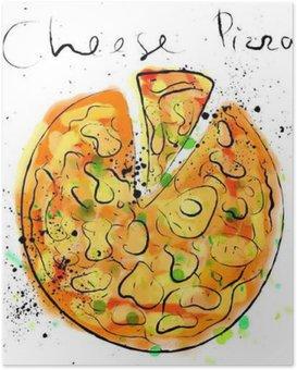 HD Poster Kaas pizza, getekend met krijt op een schoolbord