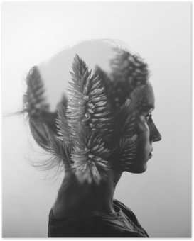 HD Poster Kreativa dubbel exponering med porträtt av ung flicka och blommor, svartvitt