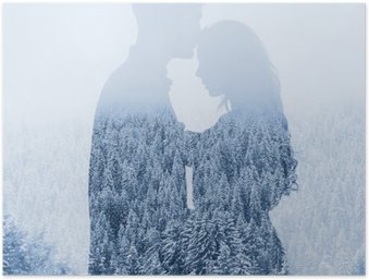 HD Poster Liefde in de winter, silhouet van paar op bos achtergrond, dubbele belichting
