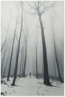 HD Poster Man in het bos met hoge bomen in de winter