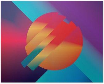 HD Poster Materiaal ontwerp abstracte vector achtergrond met geometrische isometrische vormen. Levendig, helder, glanzend kleurrijk symbool voor behang.
