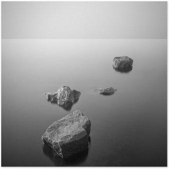HD Poster Minimalistisch mistige landschap. Zwart en wit.