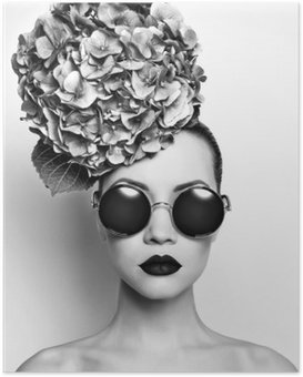HD Poster Mooie dame met hortensia