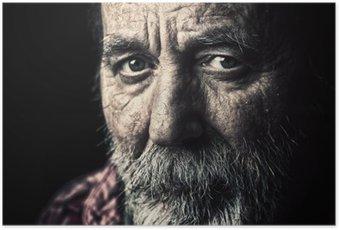 HD Poster Mycket gamla hemlösa äldre man porträtt