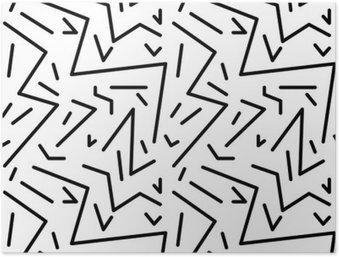 HD Poster Naadloze geometrische vintage patroon in retro jaren '80 stijl, Memphis. Ideaal voor stof ontwerp, papier print en website achtergrond. EPS10 vector-bestand