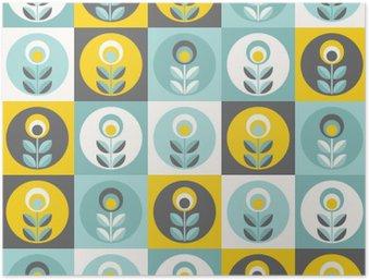 HD Poster Retro bloemenpatroon, geometrische naadloze bloemen