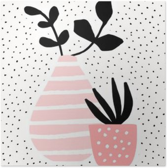 HD Poster Roze Vaas en Pot met Installaties