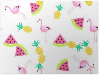 HD Poster Tropic sommaren sömlösa vit mönster med vattenmelon, flamingo och ananas. Rosa och gult roligt mönster.