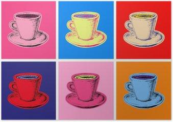 HD Poster Uppsättning kaffemuggar vektorillustration popkonst utformar