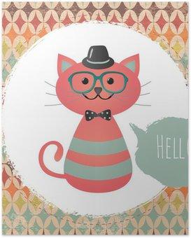 HD Poster Vector Hipster Cat wenskaart ontwerp illustratie