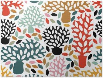 HD Poster Vector multicolor naadloze patroon met de hand getekende doodle bomen. Abstracte herfst natuur achtergrond. Ontwerp voor stof, textiel val prints, inpakpapier.