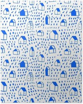 HD Poster Vector naadloze patroon met huizen.