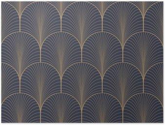 HD Poster Vintage tan blauw en bruin naadloze art deco achtergrond patroon vector