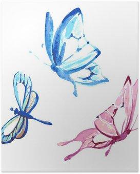 HD Poster Vlinder, watercolourontwerp