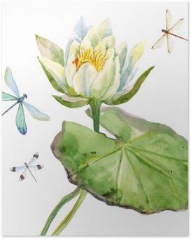 HD Poster Watercolor lotusbloem