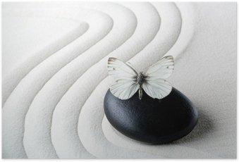 HD Poster Zen stenen met vlinder