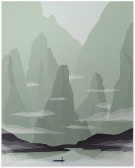 HD Poster Zuidoost-Azië landschap vector illustratie met rotsen, kliffen en de zee. China of Vietnam toeristische promotie.