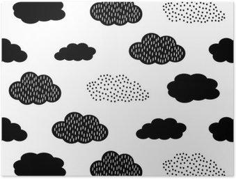 HD Poster Zwarte en witte naadloze patroon met wolken. Schattige baby shower vector achtergrond. Child tekenstijl illustratie.