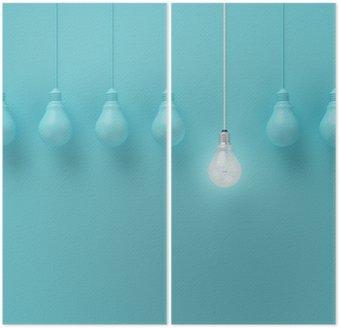 İki Parçalı Açık mavi arka plan, Minimal konsept fikri, düz yatıyordu, üst üzerinde bir farklı fikir parlayan ile ampuller asılı