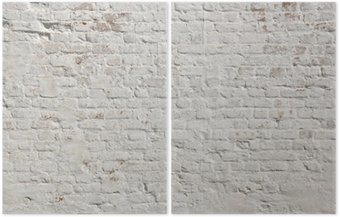İki Parçalı Beyaz grunge tuğla duvar arka plan