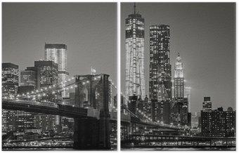İki Parçalı Gece New York. Brooklyn Köprüsü, Aşağı Manhattan - Siyah bir
