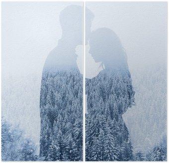 İki Parçalı Kışın seviyorum orman arka plan üzerinde çift siluet, çift pozlama