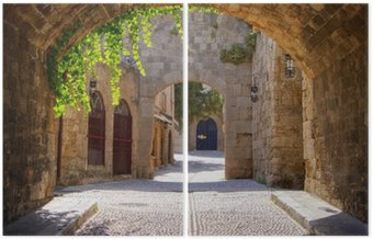 İki Parçalı Rodos, Yunanistan eski şehir Ortaçağ kemerli sokak