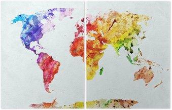İki Parçalı Suluboya dünya haritası